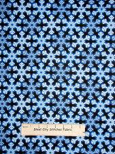 Holiday Snowflakes Blue Cotton Fabric Benertex Christmas Lights #04846 YARD