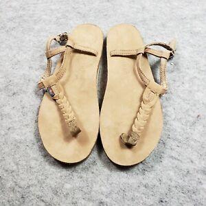 Rainbow T-Street Braided T Strap Sandals M 6.5 7.5Thongs Sierra Light Brown