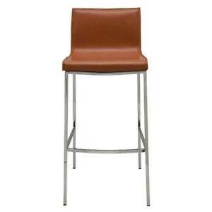 """18"""" W Set of 2 Bar Stool Smooth Leather Seat High Polish Stainless Steel Frame"""