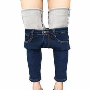 heipeiwa Womens Winter Jeans Thick Skinny Pants Fleece Lined Slim Stretc X-Small