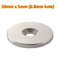 50mm X 5mm Neodymium Countersunk Ring Magnets N35 Strong Disc Rare 68mm Hole