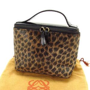 Loewe Pouch Bag Vanity Beige Black Woman Authentic Used L419