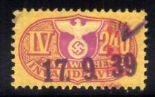 213-GERMAN EMPIRE-Third reich.WWII.NAZI Stamp Revenue 2 WEEKS INVALIDENVERS.Used