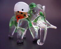 Glass ELEPHANT Tinted Green Glass Animal Glass Ornament Blown Glass Figure Gift