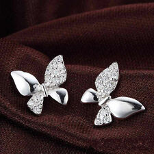 .925 Sterling Silver Classic White Crystals CZ Butterfly Stud Earrings Box L34