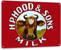 Hood & Sons Milk Metal Decor Art Kitchen Farm Cottage Store Shop Sign