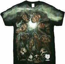 The Walking Dead Walkers In A Huddle Zombies Under the Moon Adult T-Shirt- Daryl