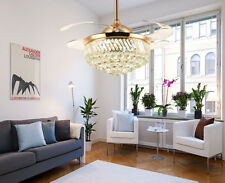Retractable Gold Crystal Chandelier Ceiling Fans Dimmable LED Lamp with Remote