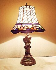 "LAMPS A VINTAGE 21""H TIFFANY STYLE FANCY STAIN-GLASS & CAST CHERUB TABLE LAMP"