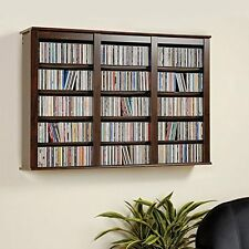 Espresso Media Storage Cabinet Wall Hanging Shelf Rack CD DVD Display Organizer