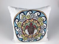 "Primitives By Kathy Sea Turtle Throw Pillow ~ 12"" ~ Multicolor Tribal Sea Ocean"