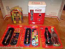 3 1996 Coca-Cola Pens, Juke Box Tin, Vendo Tin