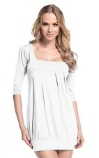 Glamour Empire Women's Bubble Tunic Jersey Dress Empire Waist 3/4 Sleeve. 993