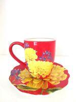 Cracker Barrel Ceramic Coffee Tea Cup Mug 12 oz Red and Yellow Flower