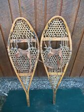 """VINTAGE Snowshoes 43"""" Long x 13"""" + Leather Bindings Wide Great for DECORATION"""