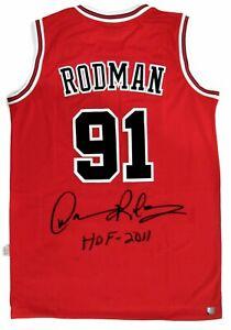 Dennis Rodman Autographed Chicago Bulls NBA Basketball Red Jersey ASI Proof