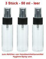 3 Stück PET Flasche 50 ml mit Spray Pumpe Sprühflasche für unterwegs Handtasche