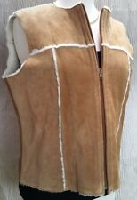 Womens Suede Leather Faux Fur Lined Zippered Vest * Clothes by Revue * Size Lrg