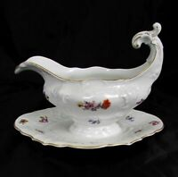 Fraureuth Porcelain Hand Painted Dresden Flower Gravy Sauce Boat 35450 Mint