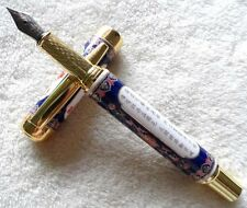 Gorgeous Cloisonn Blue And White Porcelain High Quality Medium Nib Fountain Pen
