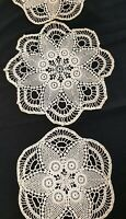 Antique 1950's Ecru Hand Crocheted Filet Duchess Set 3Pc Doily Doilies Pineapple