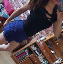 retro blue navy lace skort shorts elastic waistband UK 10 12
