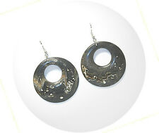 HORSE & WESTERN JEWELLERY JEWELRY LADIES JEWELLERY MARBLED BLACK HOOP EARRINGS