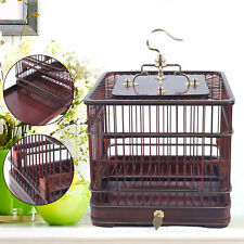 Retro Handmade Bird Cage Birdcage Wood Solid Square With Hanging Head + Drawer