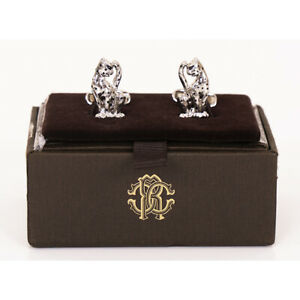 NEW $245 ROBERTO CAVALLI Silver Tone LEOPARD CATS Men's/Unisex CUFFLINKS w/ BOX