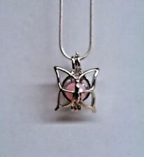 Make a Wish Pearl Cage Pendant Necklace - Butterfly 2 - 925 Chain+Pearl Included
