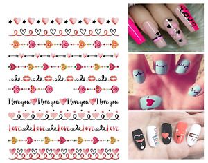 Nail Art Stickers Decals Transfers Valentines Day Love Hearts Lace Lips (W451)