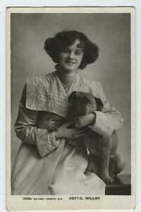 c1909 British bull Theater Beauty Gertie Millar w/ BOXER DOG RPPC photo postcard