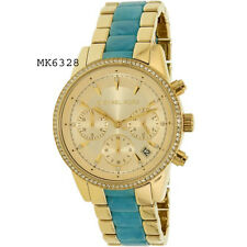 Michael Kors Women's Ritz Gold-Tone/Blue Bracelet Gold Tone Dial Watch MK6328