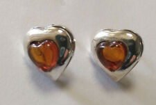 Sterling Silver Heart Shaped Amber Stud Earring