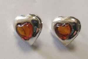 Sterling Silver Heart Shaped Amber Stud Earring