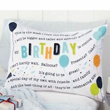 Mud Pie Little Boy Happy Birthday Celebration balloons Cotton Pillow Case New