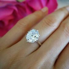 9mm x 11m Oval 8-Prong Set Solitaire Diamond Engagement Ring 14k White Gold GP