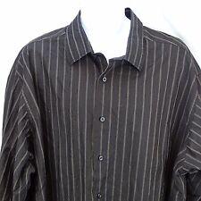 Men's Casual Shirt 3X Big Murano Button Front Black Stripe Long Sleeve