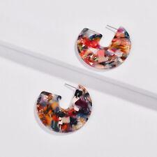 YX69 Women's Tortoise Shell Acetate Resin Geometric Hoop Earrings Disc Earring