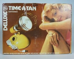 Vintage Deluxe Time A Tan GE Suntan Lamp with Bulb IN BOX / Model RSK6A - EUC