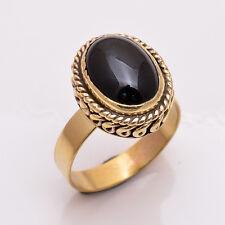 Natural Black Onyx Gemstone Ring US Size10, Handmade Antique Brass Jewelry BRR36