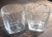 Diamond Etched Crown Royal Whiskey Rocks Glasses Set of 2 Vintage Art Deco Stule