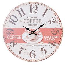 Uhr Vintage Wanduhr Nostalgie Uhr Landhausstil COFFEE*ESPRESSO* *Shabby 34cm