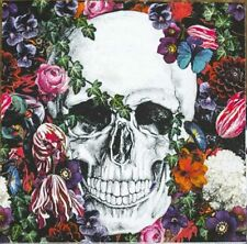 4 x Single Paper Table Napkin/Decoupage/Craft/Halloween/Skull