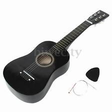"Black 6 String Guitar 23"" Beginners Mini Acoustic Instrument Kids Gift w/ Pick"