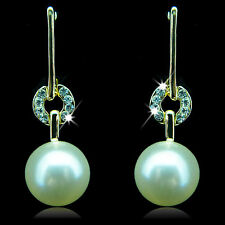 14k yellow Gold plated pearl with Swarovski crystals dangle elegant earrings