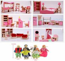 Wooden Dolls House Furniture 6 Sets Bedroom Kitchen Bathroom&Living Room+6 Dolls
