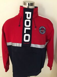 NWT Polo Sport Ralph Lauren Pullover Men's Hood L Large L/S Red Reflective Yacht