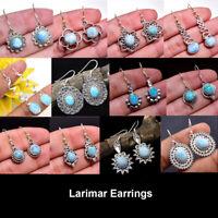 Dominican Republic Larimar Solid 925 Sterling Silver Jewelry Designer Earrings