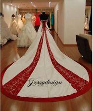 Vintage Brautkleid Hochzeitskleid A-Linie Weiß Weinrot Stickerei lange Schleppe